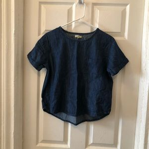 Silence & noise Anthropologie chambray crop top